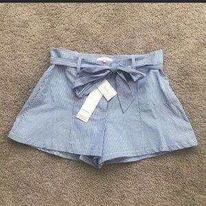 NWT PARKER Blue & White Striped Front Tie Shorts